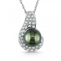 Black Tahitian Pearl & Diamond Cluster Necklace 14k W. Gold 0.24ct.