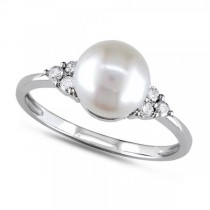 Freshwater Pearl Ring w/ Diamond Accents 14k W. Gold 7.5-8mm (0.12ct)