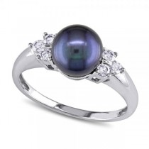 Black Freshwater Pearl Ring w/ Diamonds 14k W. Gold 7-7.5mm (0.20ct)