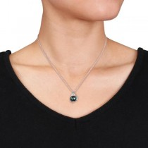 Black Tahitian Pearl Necklace w/ diamond accents 14k W. Gold 8.5-9mm