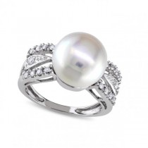Freshwater Pearl Engagement Ring w/ Diamonds 14k W. Gold 10-10.5mm