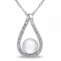 Tear Drop Diamond Pendant w/ Freshwater Pearl 14k White Gold 6.5-7mm