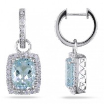 Cushion Cut Aquamarine & Diamond Drop Earrings 14k White Gold (4.30ct)