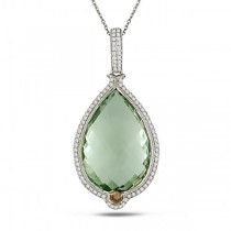 Green Amethyst & Diamond Accented Pendant Necklace 14k W. Gold 28.90ct