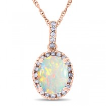 Opal & Halo Diamond Pendant Necklace in 14k Rose Gold 1.34ct