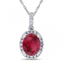 Ruby and Halo Diamond Pendant Necklace in 14k White Gold 2.44ct