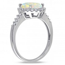 Oval Opal & Halo Diamond Engagement Ring 14k White Gold 2.07ct