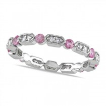 Pink Sapphire & Diamond Eternity Wedding Band in 14k White Gold 0.65ct