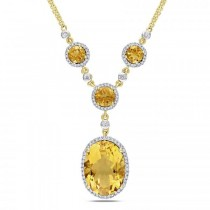 Oval Citrine Halo Diamond Vintage Necklace 14k Yellow Gold (10.25ct)