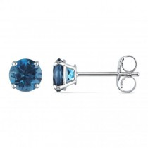 Round Cut Solitaire Blue Topaz Stud Earrings 14k White Gold (1.10ct)
