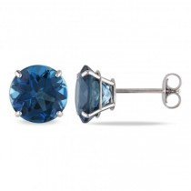 London Blue Topaz Solitaire Stud Earrings in 14k White Gold (5.00ct)
