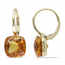 Cushion Cut Madeira Citrine Drop Earrings in 14k Yellow Gold (8.00ct)