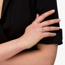 Channel Set Round Ruby & Diamond Wedding Band 14k White Gold (0.62ct)
