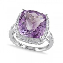 Purple Amethyst & Halo Diamond Cocktail Ring in 14k White Gold 7.10ct