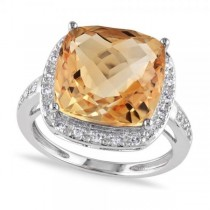 Cushion Cut Citrine & Halo Diamond Cocktail Ring 14k White Gold 6.40ct