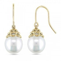 Near Round White South Sea Pearl Drop Earrings 14k Yellow Gold 10-11mm