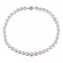 Cultured South Sea Pearls Strand Necklace 9-11mm 14k White Gold