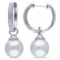 White South Sea Pearl Earrings Pave Set Diamonds 14k W. Gold 10-10.5mm