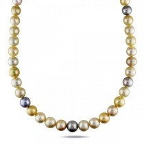 Multicolored Cultured Pearl Strand Necklace 14k Gold Clasp 9-12mm