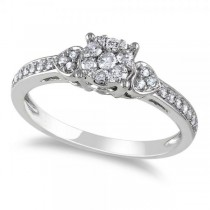 Diamond Cluster Engagement Ring w/ Side Stones 14k White Gold (0.33ct)