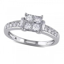 Invisible-Set Princess Cut Diamond Engagement Ring 14k W. Gold 0.65ct