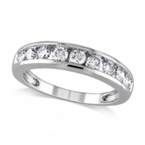 Semi Eternity Channel Set Diamond Wedding Band 14K White Gold (0.75ct)