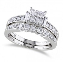 Princess Cut Diamond Bridal Set w/ Side Stones 14k White Gold (1.00ct)