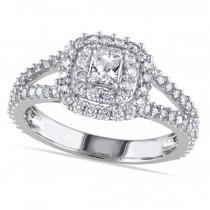 Double Halo Princess Cut Diamond Engagement Ring 14k White Gold 1.00ct