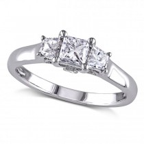 Princess Cut Diamond 3 Stone Engagement Ring 14k White Gold (1.00ct)