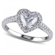Heart Shaped Diamond Halo Engagement Ring in 14k White Gold (1.50ct)