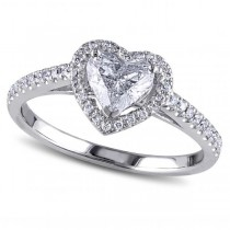 Heart Shaped Lab Grown Diamond Halo Engagement Ring in 14k White Gold (1.00ct)
