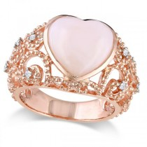 Pink Opal Diamond Heart Shaped Cocktail Ring Sterling Silver (4.33ct)
