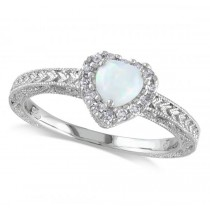 White Opal & Halo Diamond Heart Shaped Ring Sterling Silver (0.43ct)