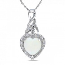 White Opal & Diamond Heart Pendant Necklace Sterling Silver (1.28ct)