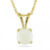 Round White Opal Solitaire Pendant Necklace 14k Yellow Gold (0.55ct)