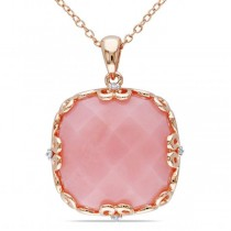 Cushion Cut Pink Opal and Diamond Pendant Sterling Silver Chain 16.02ct