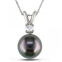 Black Tahitian Pearl & Diamond Pendant Necklace 14k White Gold 8-9mm