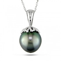 Black Tahitian Pearl Pendant Necklace in 14k White Gold 10-10.5mm