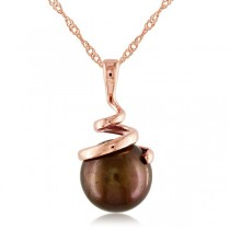 Freshwater Chocolate Pearl Swirl Pendant Necklace 14k R. Gold 8-8.5mm