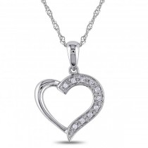 Ladies Open Heart Pendant with Diamond Accents in 14k White Gold 0.05ct