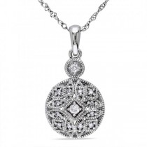 Vintage, Pave Set Diamond Pendant Necklace in 14k White Gold 0.12ct