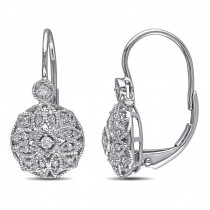 Vintage Style Leverback Diamond Earrings Floral 14k White Gold 0.15ct