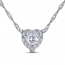 Petite Diamond Cluster Heart Shaped Pendant Necklace 14k W Gold 0.25ct