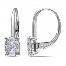 Diamond Cluster Drop Earrings with Leverbacks 14k White Gold 0.50ct
