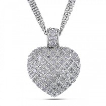 Diamond Accented Puffed Heart Pendant Necklace Sterling Silver 1.00ct