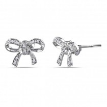 Bow Shaped Diamond Accented Stud Earrings in Sterling Silver 0.05