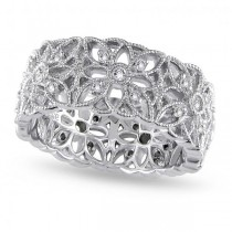 Diamond Accent Carved Flower Band Prong Set in Sterling Silver 0.33ct