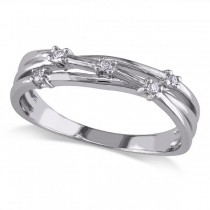 Criss Cross, Twisted Band with Diamond Accents Sterling Silver 0.05ct