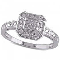 Vintage, Square Diamond Framed Fashion Ring in Sterling Silver 0.10ct