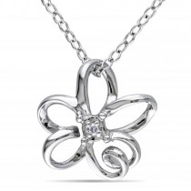 Swirl Flower Pendant Necklace with Diamond in Sterling Silver 0.01ct